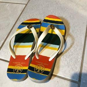 Tory Burch Cream and Gold Flip Flops